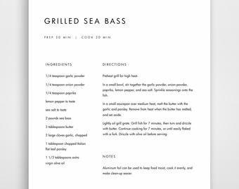 Recipe Template for Word Recipe Book