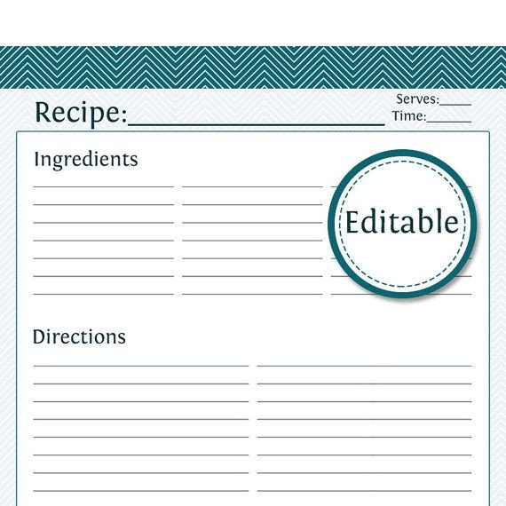 Recipe Template for Word Recipe Card Full Page Fillable Printable Pdf by