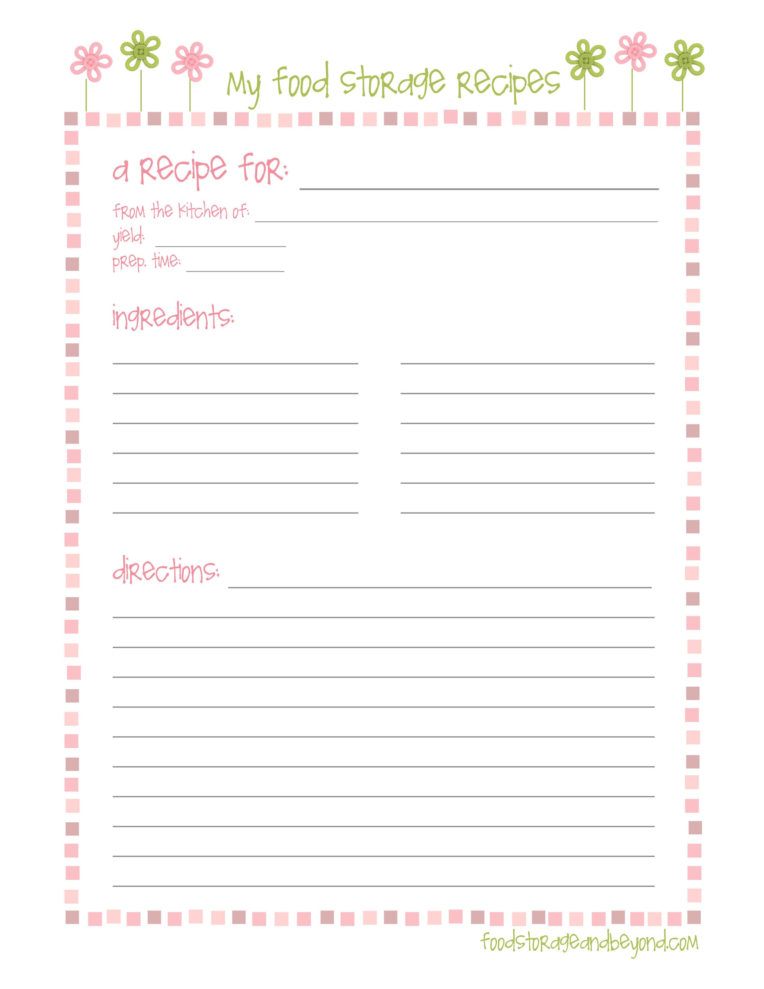 Recipe Template for Word Recipe Cards – Food Storage and Beyond