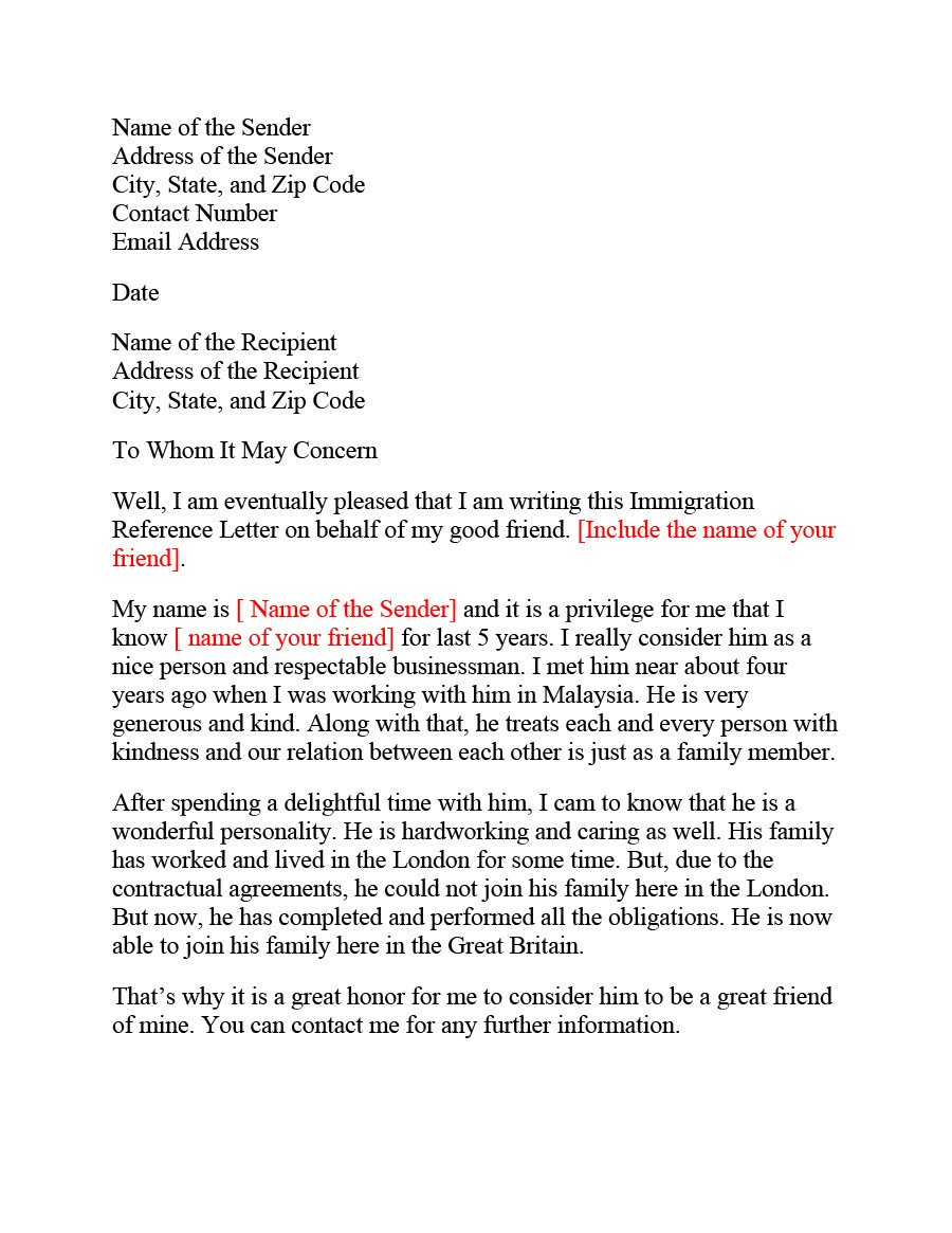 Recommendation Letter for Immigration 36 Free Immigration Letters Character Reference Letters