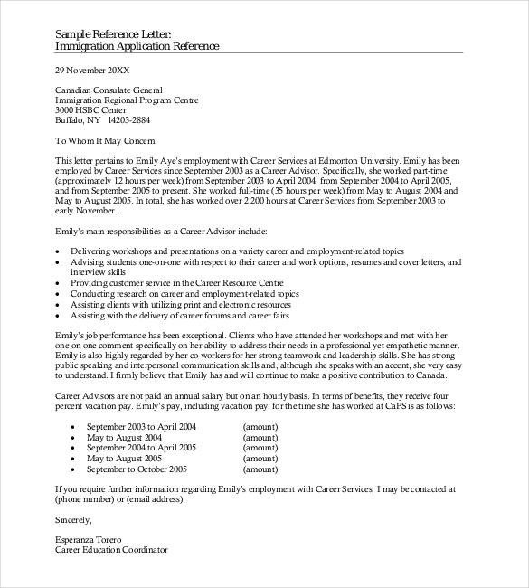 Recommendation Letter for Immigration 42 Reference Letter Templates Pdf Doc
