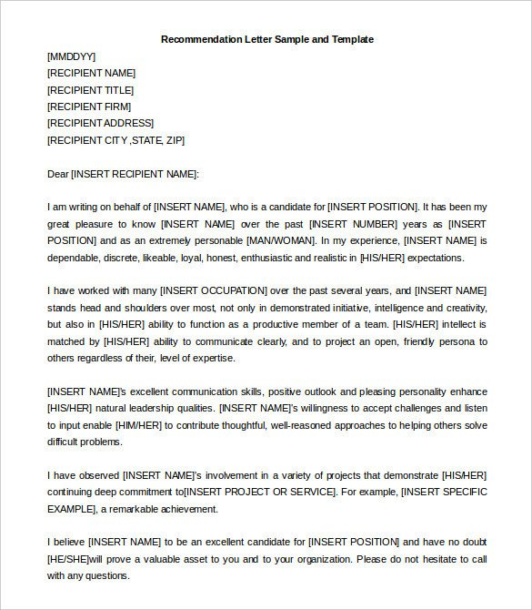 Recommendation Letter Template for Job 30 Re Mendation Letter Templates Pdf Doc