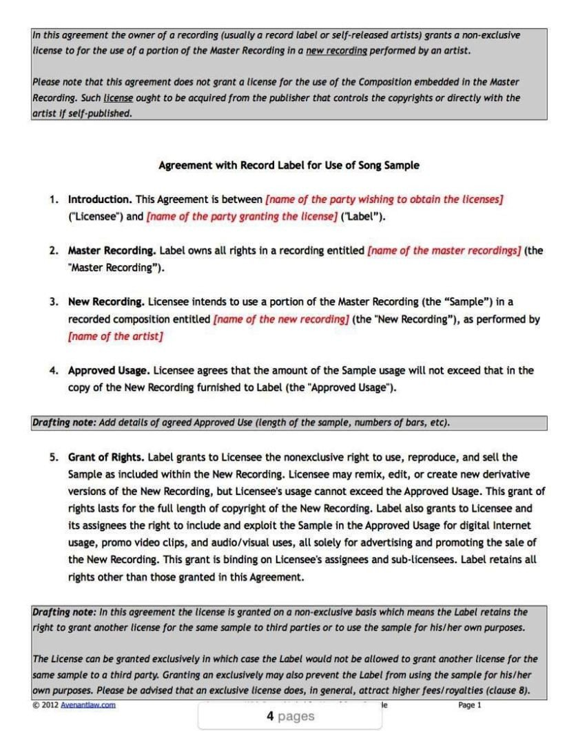 Record Label Contract Template Record Label Contracts Templates Sampletemplatess