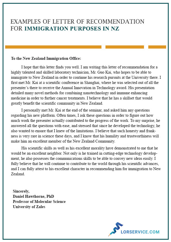 Reference Letter for Immigration Character Letter Of Re Mendation for Immigration In Nz