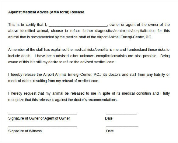 Refusal Of Treatment form Against Medical Advice form 8 Samples Examples format