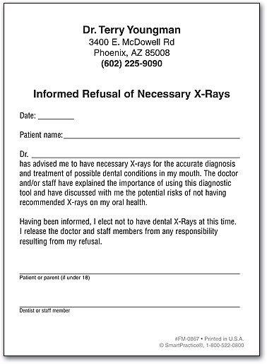 Refusal Of Treatment form Refusal Of Necessary X Rays
