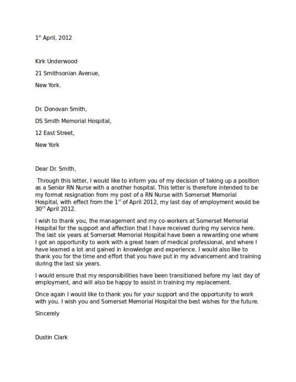 13 Nurse Resignation Letter Samples and Templates PDF Word