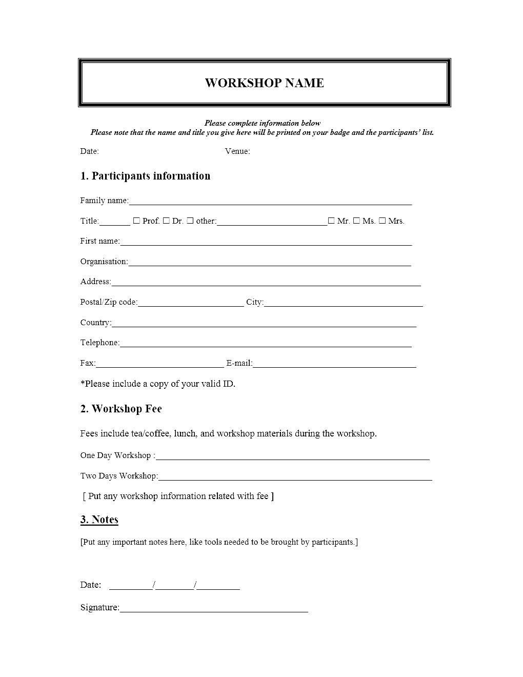 Registration forms Template Free event Registration form Template Microsoft Word