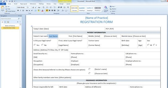 Registration forms Template Free Patient Registration form Template for Word 2013