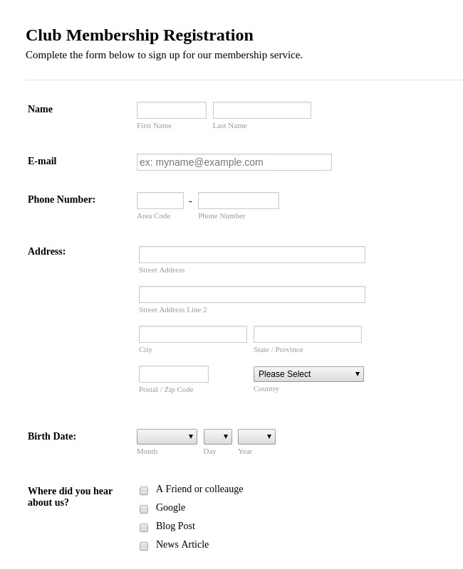 Registration forms Template Free Registration forms form Templates