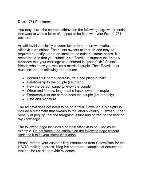 Relationship Support Letters Immigration 12 Affidavit Samples Doc Pdf