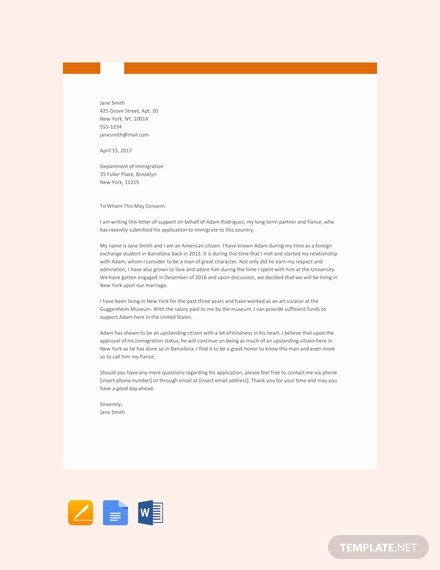 Relationship Support Letters Immigration Free Immigration Letter Of Support Template Download 1639
