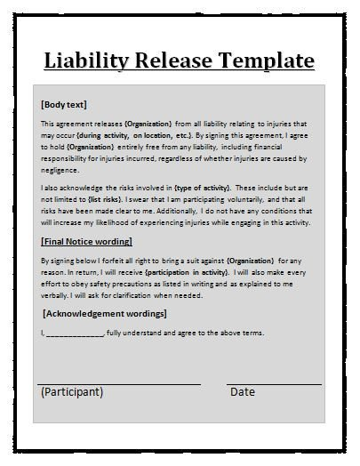 Release Of Liability Template Free Printable Liability Release form Template form Generic
