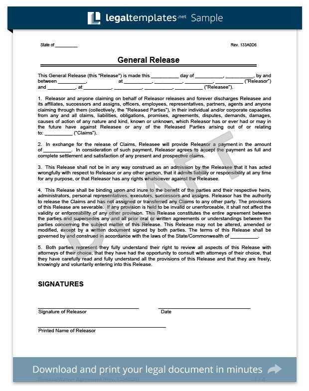 Release Of Liability Template Free Release Of Liability form