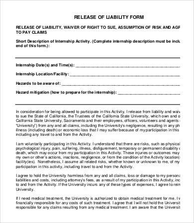 Release Of Liability Template Release Liability form Template 8 Free Sample