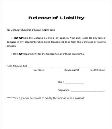 Release Liability Form Template 8 Free Sample