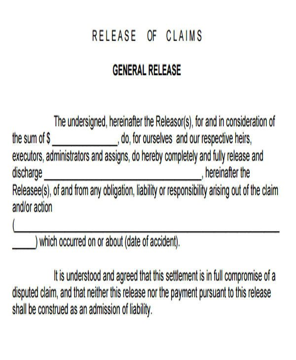 Release Of Liability Template Sample General Liability Release form 7 Examples In