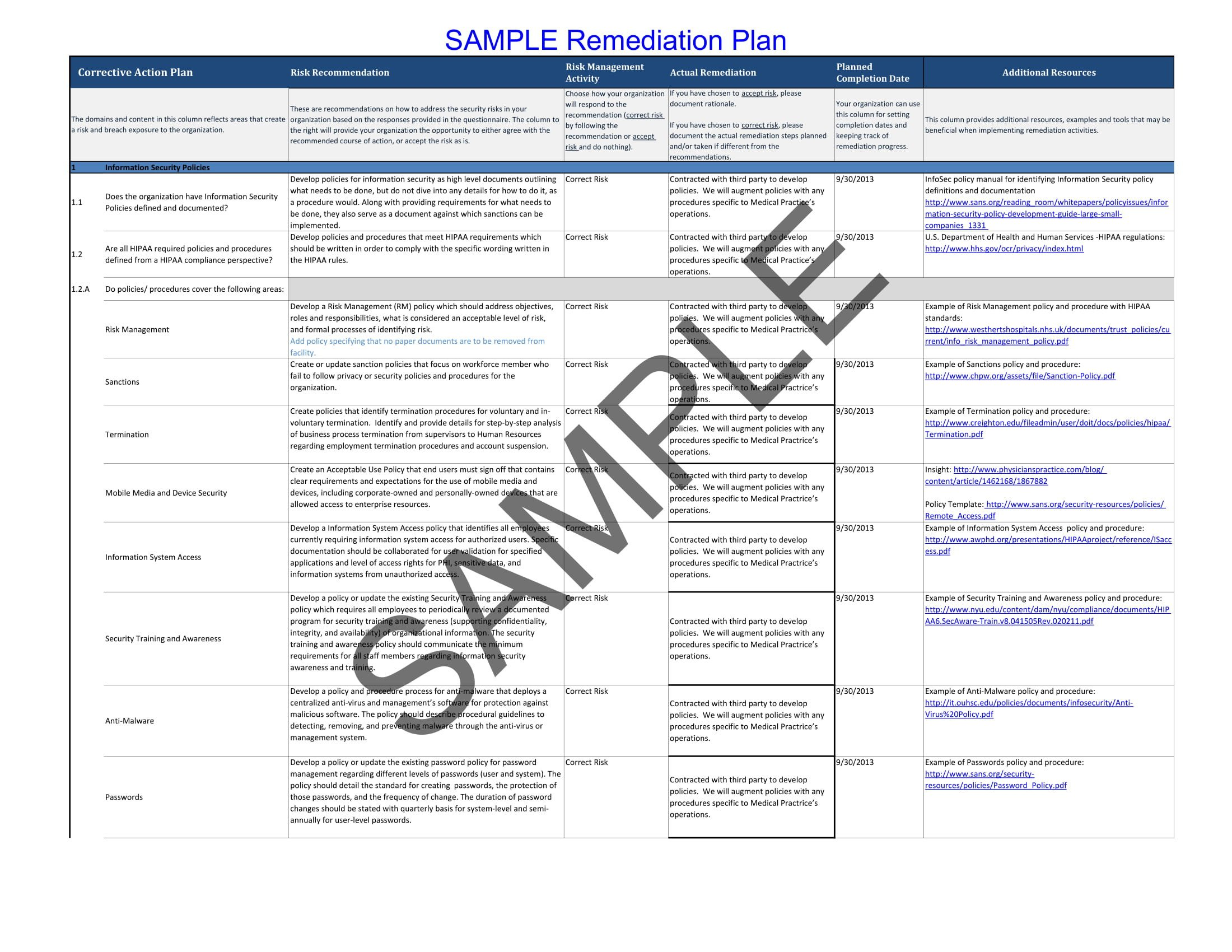 Remediation Action Plan Template 9 Remedial Action Plan Examples Pdf