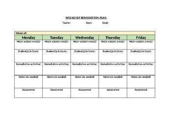 Remediation Action Plan Template Blank Weekly Iep Remediation Plan Template Editable