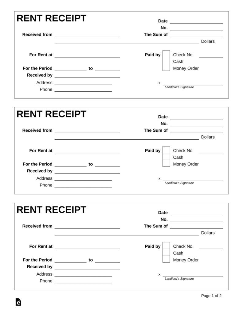 Free Rent Receipt Template PDF Word