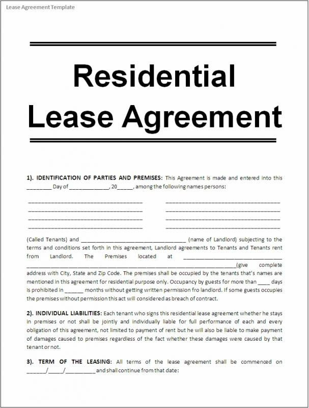 Rental Agreement Template Doc Printable Lease Agreement