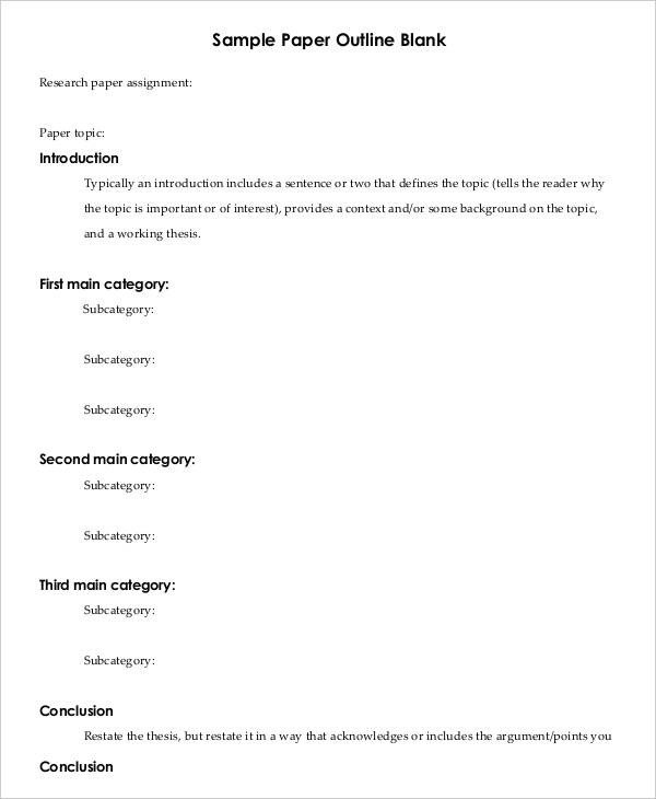 Printable Research Paper Outline Template 8 Free Word