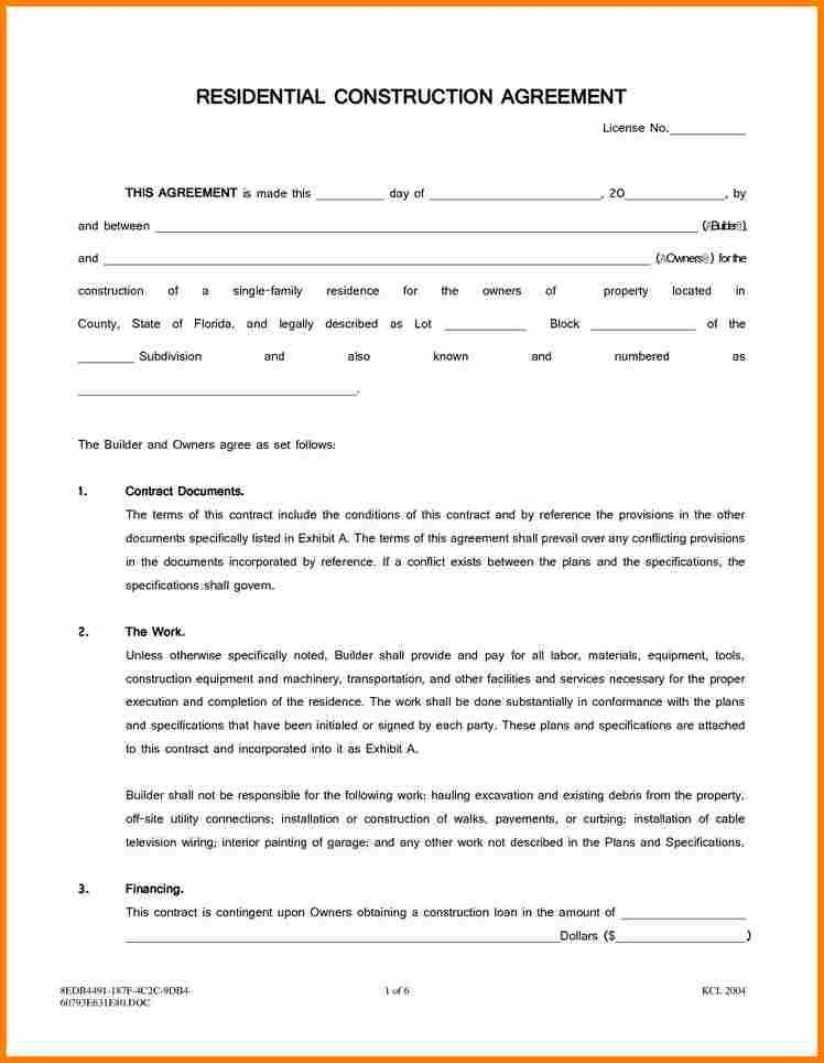 Residential Construction Contract Template Free 5 Residential Construction Contract Template