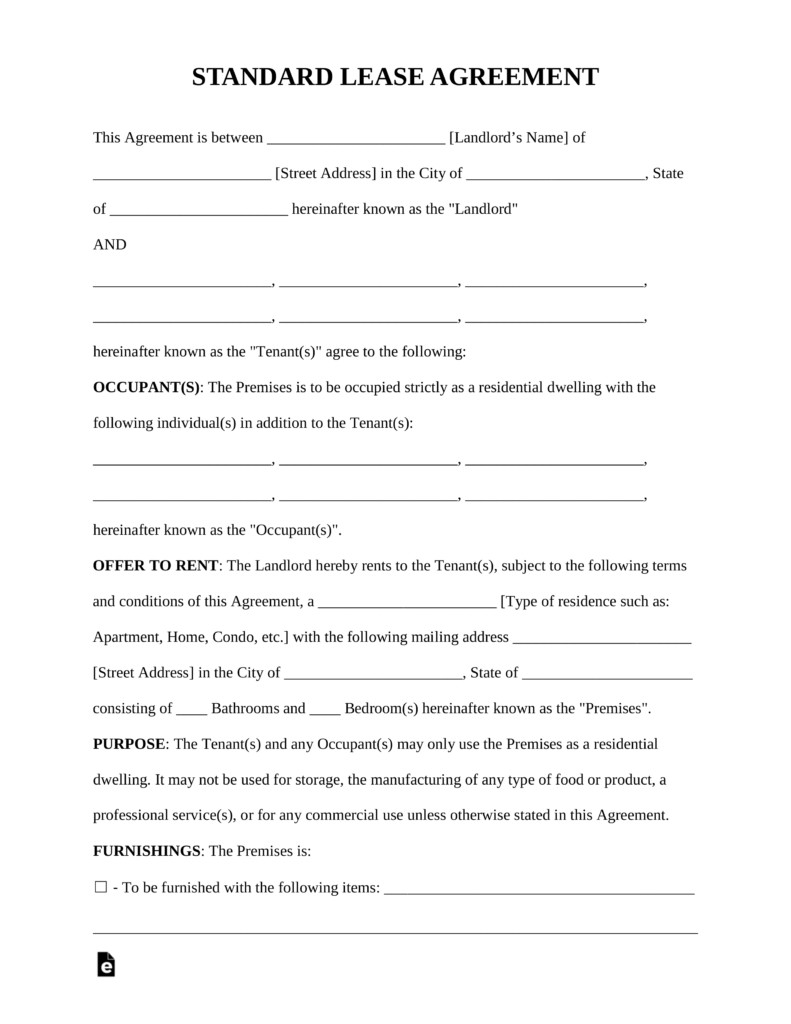 Residential Lease Agreement Template Free Standard Residential Lease Agreement Template Pdf