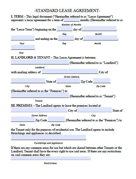 Residential Lease Agreement Template Printable Sample Residential Lease Agreement Template form
