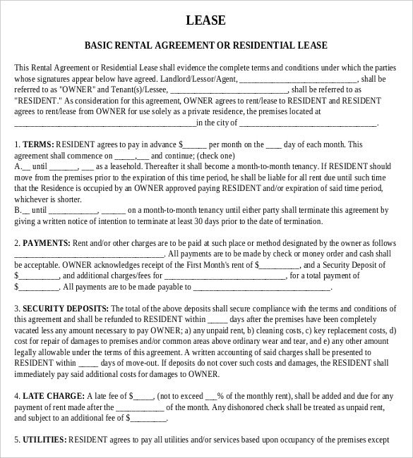 Residential Lease Agreement Template Rental Agreement Templates – 15 Free Word Pdf Documents
