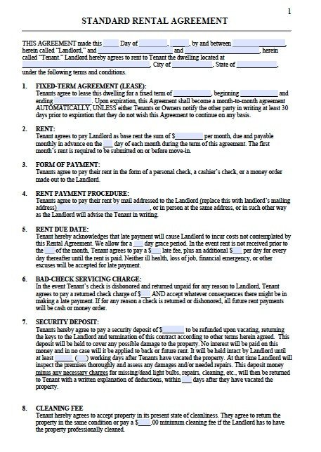 Residential Lease Agreement Template Residential Lease Agreement Template