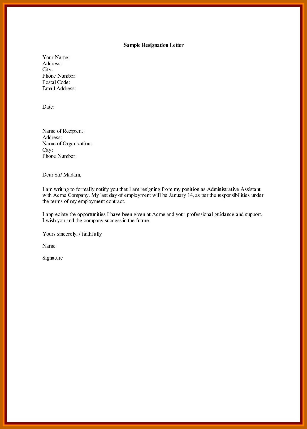 30 Resignation Letter Personal Reason | Simple Template Design