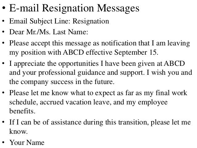 Resignation Letter Subject Line Resignation Letter