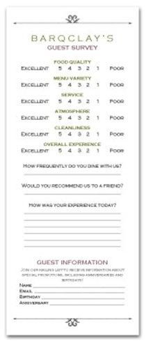 Restaurant Comment Card Template Cards Ment and Tabletents for Your Restaurant Hotel