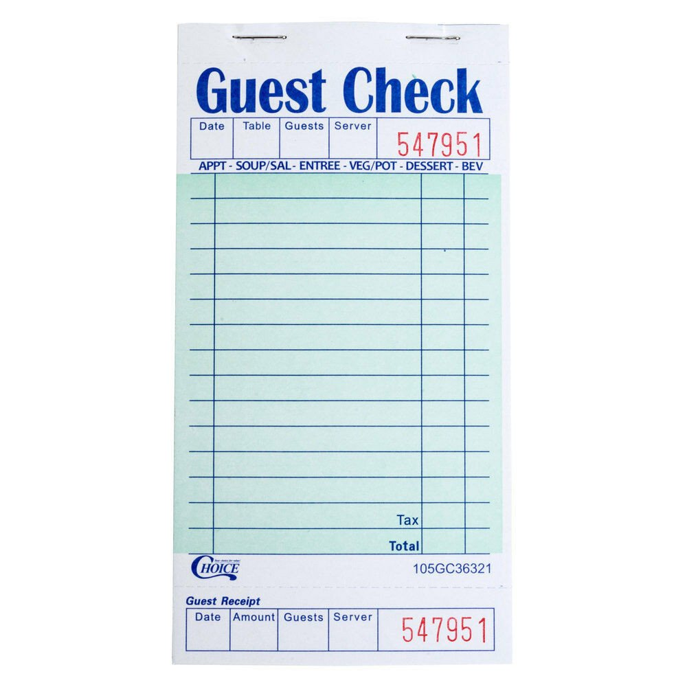 Restaurant Guest Check Template 1 Part Green and White Guest Check with Bottom Guest