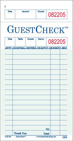 Restaurant Guest Check Template 240 50sw Adams Restaurant Guest Check Copy Paper 1 Part