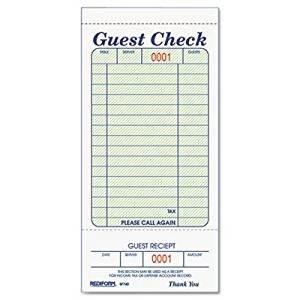 Restaurant Guest Check Template Amazon Rediform Guest Check Book 3 3 8 X 6 1 2 Tear