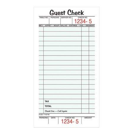 Restaurant Guest Check Template Guest Check 1 Part 5 Pk Walmart