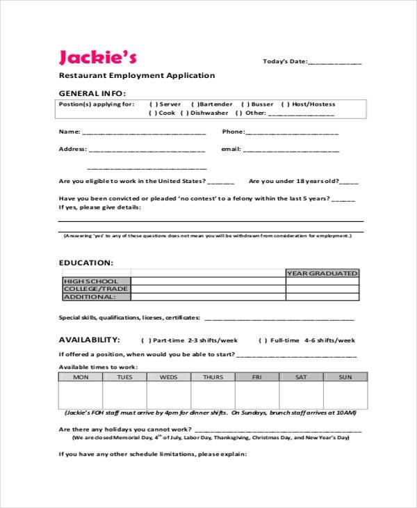 Restaurant Job Application Template 33 Job Application Templates