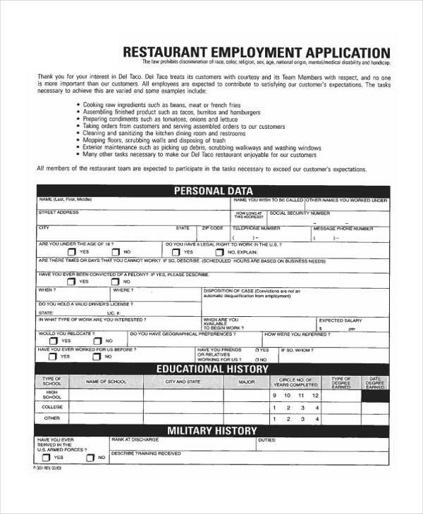 Restaurant Job Application Template 35 Free Job Application form Template