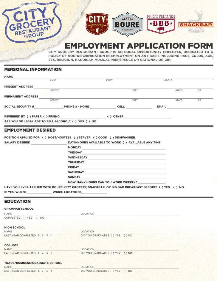 Restaurant Job Application Template 9 Restaurant Application Templates Free Download