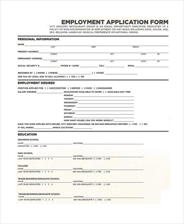 Restaurant Job Application Template Restaurant Application Template