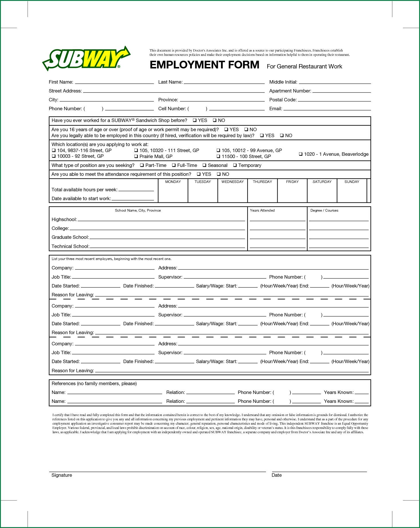 Restaurant Job Application Template Restaurant Job Application Template