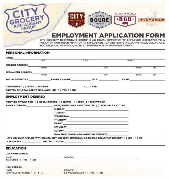 Restaurant Job Application Template Subway order form Seatle Davidjoel