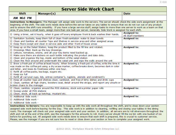 Restaurant Side Work Chart Template Server Side Work Chart Workplace Wizards