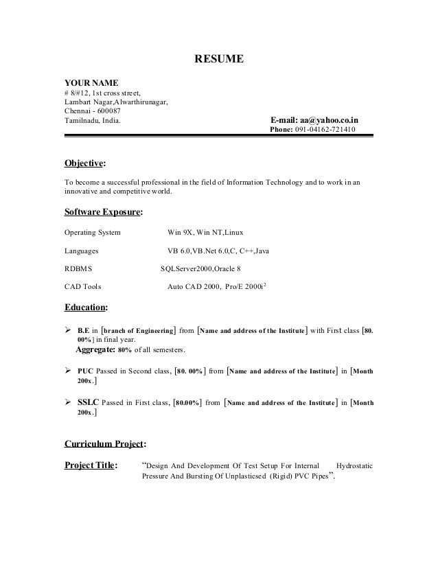Fresher resume sample1 by Babasab Patil