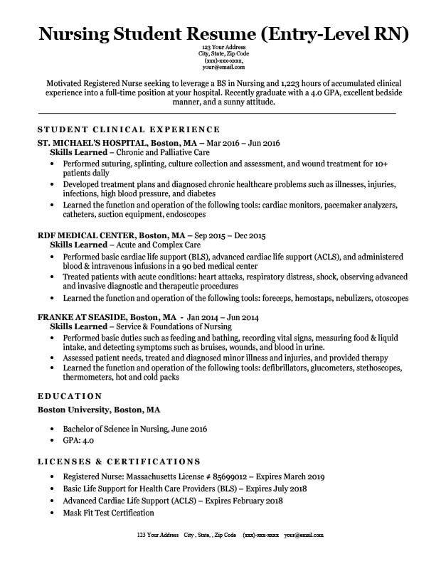 Resume Template for Nursing Entry Level Nursing Student Resume Sample & Tips