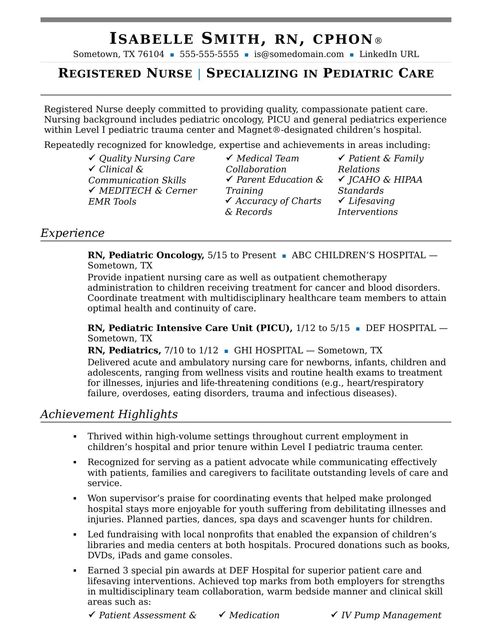 Resume Template for Nursing Nurse Resume Sample