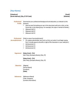 Resume Template Microsoft Word Resume Functional Design
