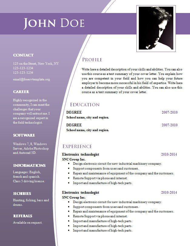 Resume Template Word Download Cv Templates for Word Doc 632 – 638 – Free Cv Template